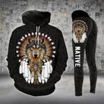 Native Wolf Brown Legging and Hoodie Set