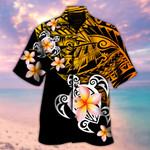 Orange On Black Line Turtle And Hibiscus Hawaii Shirt - TG0721HN