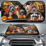 Halloween Version Pitbull Dog Family Car Sunshade - TG0821QA