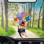 Yorkshire Terrier With Colorful Balloons Flat Car Ornament - TG0821HN