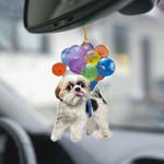 Shih Tzu With Colorful Balloons Flat Car Ornament - TG0921HN