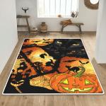 Pumpkin Black Cat Halloween Area Rug - TG0821DT