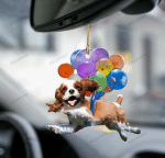 Cavalier King Charles Spaniel With Colorful Balloons Flat Car Ornament - TG0921HN