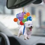 Maltese With Colorful Balloons Flat Car Ornament - TG0921HN