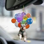 Schnauzer With Colorful Balloons Flat Car Ornament - TG0921TA