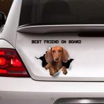 Tan Dachshund Best Friend On Board Car Decal Sticker - TG0921QA
