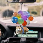 Welsh Corgi With Colorful Balloons Flat Car Ornament - TG0921QA