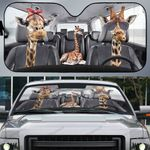 Giraffee Family Driving Car Sunshade - PD0821HN