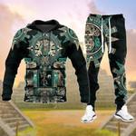 Aztec Green Pattern Hoodie Sweatpant Set - PD0921HN