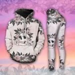 Skull Flowers Butterfly Pale Pink Legging and Hoodie Set - TG0821QA