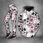 Pink Skull Flower Pattern Sweatpants and Fleece Zip Hoodie Set