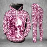 Light Pink Skull Legging and Hoodie Set