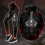 Skull Cross Blood Fire Gothic Legging and Hoodie Set