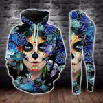 Day Of The Dead Blue Flower Skull Girl Legging and Hoodie Set