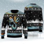 Leaf Skull Christmas Wool Sweater - TG0921HN