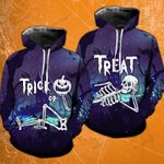 Trick Or Treat Skeleton Blue Halloween Matching Hoodies - TG0721OS