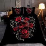 Rose Skull Dark Bedding Set