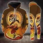Day Of The Dead Orange Skull Girl Legging and Hoodie Set