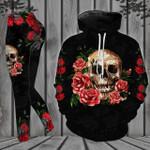 Black Rose Flower Skull Legging and Hoodie Set
