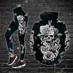 Silver Rose Skull Legging and Fleece Zip Hoodie Set