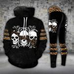 Skull Trio Hear See Speak No Evil Leopard Legging and Hoodie Set