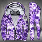 Skull Flower Purple Pattern Legging and Hoodie Set