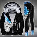 Cerulean Blue Skull Flower On Dark Legging and Hoodie Set