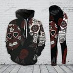 Red Skull Hoodie and Legging Set
