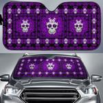 Purple Sugar Skull Car Sunshade - TG0721DT