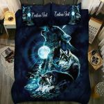 Wolf Howling At The Moon Blue Moonlight Custom Bedding Set - TG1021TA