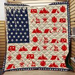 American Flag Camping 4Th Of Jul Quilt Blanket DHC0102423TD