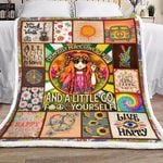 Hippie I'm Mostly Peace Love And Light GS-CL-DT1810 Sherpa Fleece Blanket
