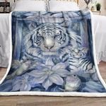 Majestic White Tiger And Hummingbird GS-CL-LD2706 Sherpa Fleece Blanket