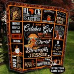 October Black Girl Personalized GS-CL-TH1208 Quilt Blanket