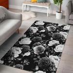 Black White Rose Floral Pattern GS-CL-DT2704 Rug