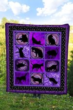 Black Cat Purple DTC2311811 Quilt Blanket