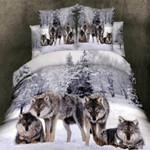 Grey White and Brown Wild Animal Wolf DAC251120 Bedding Set