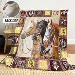 Native Horses PTT251115QT Sherpa Fleece Blanket