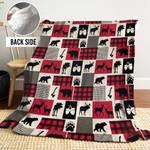 Rustic Deer And Moose MMM261101MI Sherpa Fleece Blanket