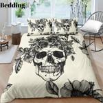 Black And White Floral Skull PTC021201 Bedding Set