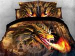 Golden Dragon Spouting Fire DAC031238 Bedding Set