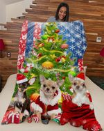 Chihuahua Under Christmas Tree DTC0412747 Fleece Blanket