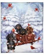 Dachshund Snow Pine Cardinal DTC0412730 Fleece Blanket