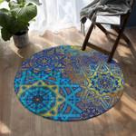 Stylized Suns Teal DAC041237 Round Carpet