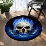Blue Flaming Skull DAC041265 Round Carpet