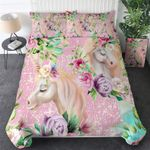 Floral Pink Unicorn PTC041209 Bedding Set