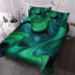 Marble Green Swirls Wave DAC05129 Bedding Set
