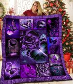 Butterfly The Purple Roses DAC081213 Quilt Blanket