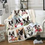 Boston Terrier DTC1012407 Sherpa Fleece Blanket