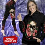 Black Rose Skull TC021104CT Legging And Hoodie Ultra Soft and Warm